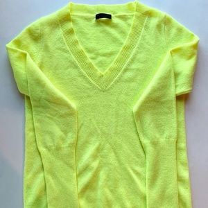 J Crew Collection Cashmere Sweater Neon Yellow
